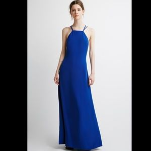 Forever 21 Blue Strappy Halter Maxi Formal Dress